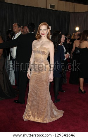 LOS ANGELES - FEB 24:  Jessica Chastain arrives at the 85th Academy Awards presenting the Oscars at the Dolby Theater on February 24, 2013 in Los Angeles, CA - stock photo