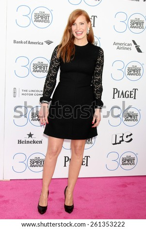 LOS ANGELES - FEB 21:  Jessica Chastain at the 30th Film Independent Spirit Awards at a tent on the beach on February 21, 2015 in Santa Monica, CA - stock photo