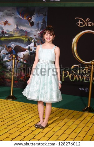 LOS ANGELES - FEB 13:  Joey King at the 'Oz THe Great and Powerful!'  World Premiere at the El Capitan Theater on February 13, 2013 in Los Angeles, CA - stock photo