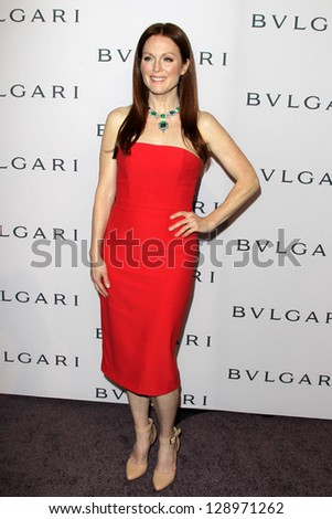 LOS ANGELES - FEB 19:  Julianne Moore arrives at the BVLGARI Celebrates Elizabeth Taylor's Jewelry Collection at the BVLGARI on February 19, 2013 in Beverly Hills, CA - stock photo