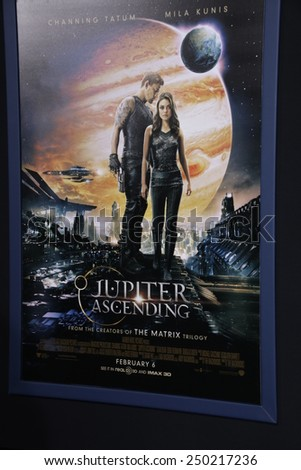 """LOS ANGELES - FEB 2:  Jupiter Ascending Poster at the """"Jupiter Ascending"""" Los Angeles Premiere at a TCL Chinese Theater on February 2, 2015 in Los Angeles, CA - stock photo"""