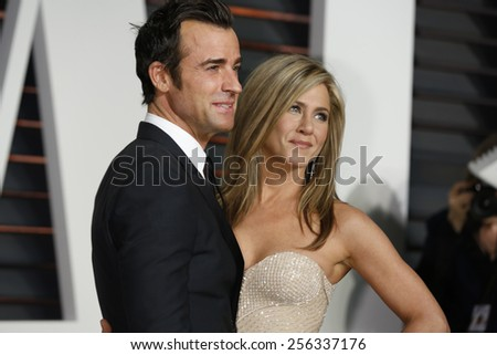 LOS ANGELES - FEB 22:  Justin Theroux, Jennifer Aniston at the Vanity Fair Oscar Party 2015 at the Wallis Annenberg Center for the Performing Arts on February 22, 2015 in Beverly Hills, CA - stock photo