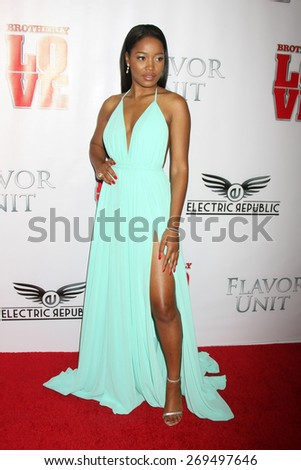 """LOS ANGELES - FEB 13:  Keke Palmer at the """"Brotherly Love"""" LA Premiere at the Silver Screen Theater at the Pacific Design Center on April 13, 2015 in West Hollywood, CA - stock photo"""