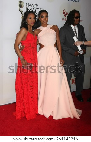 LOS ANGELES - FEB 6:  Kerry Washington, Gabrielle Union at the 46th NAACP Image Awards Arrivals at a Pasadena Convention Center on February 6, 2015 in Pasadena, CA - stock photo