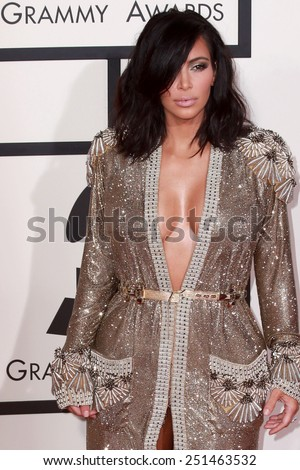 LOS ANGELES - FEB 8:  Kim Kardashian West at the 57th Annual GRAMMY Awards Arrivals at a Staples Center on February 8, 2015 in Los Angeles, CA - stock photo