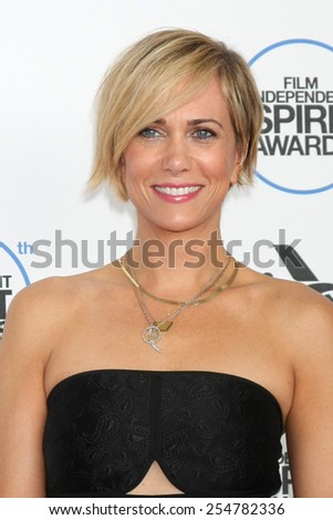 LOS ANGELES - FEB 21:  Kristen Wiig at the 30th Film Independent Spirit Awards at a tent on the beach on February 21, 2015 in Santa Monica, CA - stock photo