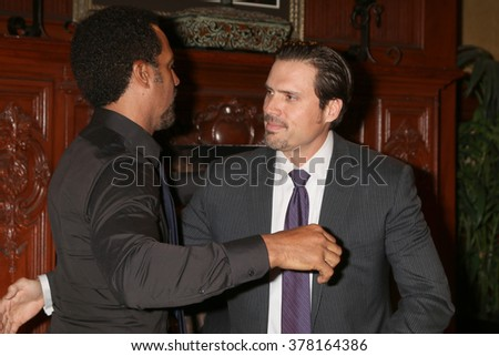 LOS ANGELES - FEB 12:  Kristoff St John, Joshua Morrow at the Kristoff St John celebrates 25 Years at YnR at the CBS Television City on February 12, 2016 in Los Angeles, CA