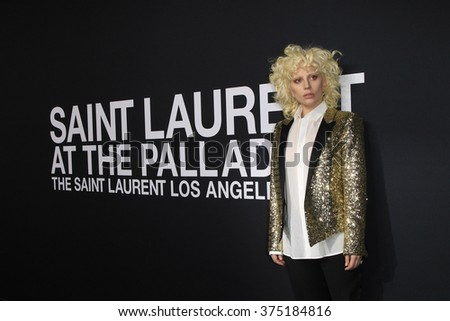 LOS ANGELES - FEB 10: Lady Gaga arriving at the Saint Laurent fashion show at the Hollywood Palladium on February 10, 2016 in Los Angeles, California - stock photo