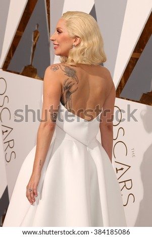 LOS ANGELES - FEB 28:  Lady Gaga at the 88th Annual Academy Awards - Arrivals at the Dolby Theater on February 28, 2016 in Los Angeles, CA - stock photo
