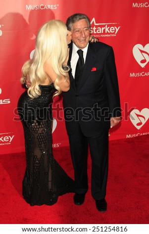 LOS ANGELES - FEB 6:  Lady Gaga, Tony Bennett at the MusiCares 2015 Person Of The Year Gala at a Los Angeles Convention Center on February 6, 2015 in Los Angeles, CA - stock photo