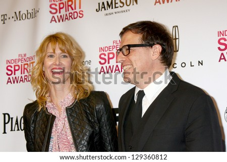 LOS ANGELES - FEB 23:  Laura Dern, David O. Russell in the press room of the 2013 Film Independent Spirit Awards at the Tent on the Beach on February 23, 2013 in Santa Monica, CA