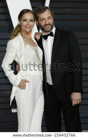 LOS ANGELES - FEB 22:  Leslie Mann, Judd Apatow at the Vanity Fair Oscar Party 2015 at the Wallis Annenberg Center for the Performing Arts on February 22, 2015 in Beverly Hills, CA - stock photo