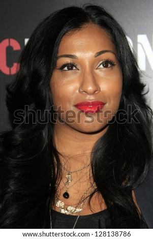 LOS ANGELES - FEB 9:  Melanie Fiona arrives at the ROC NATION Annual Pre-Grammy Brunch at the Soho House on February 9, 2013 in West Hollywood, CA - stock photo