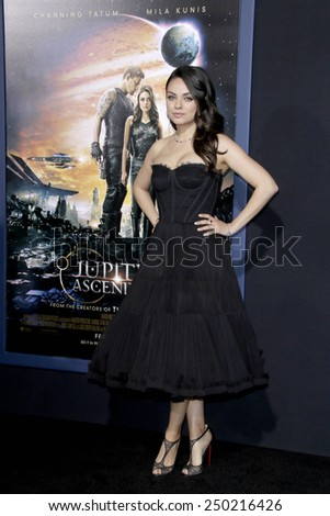 """LOS ANGELES - FEB 2:  Mila Kunis at the """"Jupiter Ascending"""" Los Angeles Premiere at a TCL Chinese Theater on February 2, 2015 in Los Angeles, CA - stock photo"""