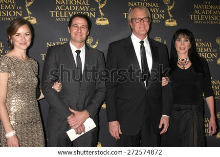 LOS ANGELES - FEB 24:  Mr & Mrs Gib Gerard, John Tesh, Connie Sellecca at the Daytime Emmy Creative Arts Awards 2015 at the Universal Hilton Hotel on April 24, 2015 in Los Angeles, CA - stock photo