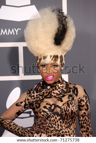 LOS ANGELES - FEB 13: Nicki Minaj arrives at the 2011 Grammy Awards  on February 13, 2011 in Los Angeles, CA - stock photo