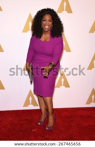 LOS ANGELES - FEB 02:  Oprah Winfrey arrives to the Oscar Nominee Reception  on February 2, 2015 in Beverly Hills, CA                 - stock photo