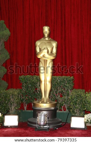 LOS ANGELES - FEB 24: Oscar statue at the arrivals area at the Oscars held at the Kodak Theater in Los Angeles, California on February 24, 2008 - stock photo