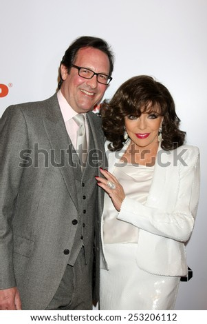 LOS ANGELES - FEB 2:  Percy Gibson, Joan Collins at the AARP 14th Annual Movies For Grownups Awards Gala at a Beverly Wilshire Hotel on February 2, 2015 in Beverly Hills, CA - stock photo