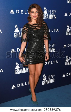 LOS ANGELES - FEB 5:  Priyanka Chopra at the Delta Air Lines Toasts 2015 GRAMMYs at a SOHO House on February 5, 2015 in West Hollywood, CA - stock photo