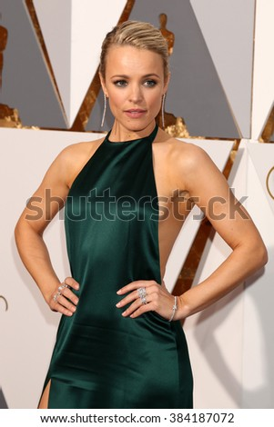 LOS ANGELES - FEB 28:  Rachel McAdams at the 88th Annual Academy Awards - Arrivals at the Dolby Theater on February 28, 2016 in Los Angeles, CA - stock photo