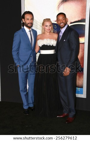 """LOS ANGELES - FEB 24:  Rodrigo Santoro, Margot Robbie, Will Smith at the """"Focus"""" Premiere at  TCL Chinese Theater on February 24, 2015 in Los Angeles, CA - stock photo"""