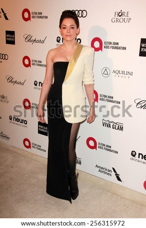 LOS ANGELES - FEB 22:  Rose McGowan at the Elton John Oscar Party 2015 at the City Of West Hollywood Park on February 22, 2015 in West Hollywood, CA - stock photo