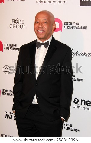 LOS ANGELES - FEB 22:  Russell Simmons at the Elton John Oscar Party 2015 at the City Of West Hollywood Park on February 22, 2015 in West Hollywood, CA - stock photo