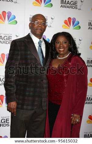 LOS ANGELES - FEB 17:  Samuel L. Jackson, LaTanya Richardson. arrives at the 43rd NAACP Image Awards at the Shrine Auditorium on February 17, 2012 in Los Angeles, CA. - stock photo