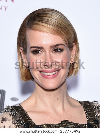 LOS ANGELES - FEB 14:  Sarah Paulson arrives to the Make-Up Artists & Hair Stylists Guild Awards 2015  on February 14, 2015 in Hollywood, CA                 - stock photo