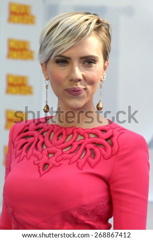 LOS ANGELES - FEB 11:  Scarlett Johansson at the MTV Movie Awards 2015 at the Nokia Theater on April 11, 2015 in Los Angeles, CA - stock photo