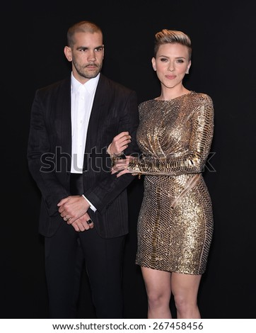 LOS ANGELES - FEB 20:  Scarlett Johansson & Romain Dauriac arrives to the Tom Ford Autumn/Winter 2015 Womenswear Collection Presentation  on February 20, 2015 in Hollywood, CA                 - stock photo