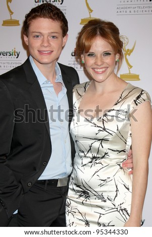 "LOS ANGELES - FEB 15:  Sean Berdy, Katie Leclerc arrives at the ""Switched at Birth"" Screening and Panel at the ATAS Conference Centre on February 15, 2012 in North Hollywood, CA - stock photo"