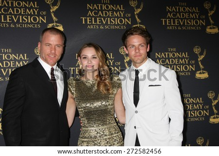 LOS ANGELES - FEB 24:  Sean Carrigan, Hunter King, Lachlan Buchanan at the Daytime Emmy Creative Arts Awards 2015 at the Universal Hilton Hotel on April 24, 2015 in Los Angeles, CA - stock photo