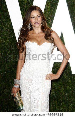 LOS ANGELES - FEB 26:  Sofia Vergara arrives at the 2012 Vanity Fair Oscar Party  at the Sunset Tower on February 26, 2012 in West Hollywood, CA - stock photo