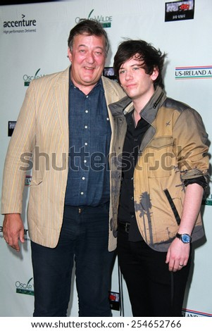 LOS ANGELES - FEB 19:  Stephen Fry, Elliott Spencer at the Oscar Wilde US-Ireland Pre-Academy Awards Event at a Bad Robot on February 19, 2015 in Santa Monica, CA - stock photo