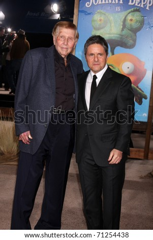 LOS ANGELES - FEB 14:  Sumner Redstone, Brad Grey arrives at the Rango Premiere at Village Theater on February 14, 2011 in Westwood, CA