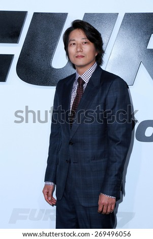 "LOS ANGELES - FEB 1:  Sung Kang at the ""Avengers; Age Of Ultron"" Los Angeles Premiere at the TCL Chinese Theater on April 1, 2015 in Los Angeles, CA - stock photo"