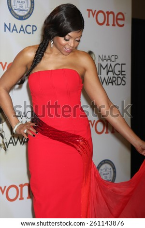 LOS ANGELES - FEB 6:  Taraji P. Henson at the 46th NAACP Image Awards Press Room at a Pasadena Convention Center on February 6, 2015 in Pasadena, CA - stock photo
