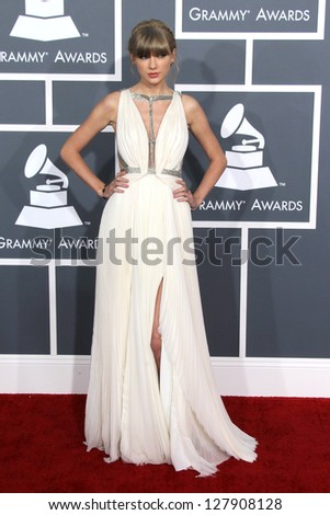 LOS ANGELES - FEB 10:  Taylor Swift arrives at the 55th Annual Grammy Awards at the Staples Center on February 10, 2013 in Los Angeles, CA