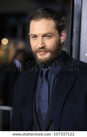 LOS ANGELES - FEB 8: Tom Hardy at the premiere of Twentieth Century Fox's 'This Means War' held at Grauman's Chinese Theater on February 8, 2012 in Los Angeles, California - stock photo