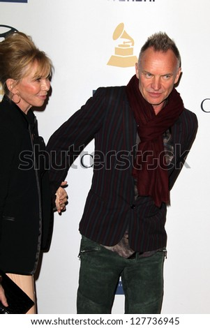 LOS ANGELES - FEB 9:  Trudie Styler, Sting arrives at the Clive Davis 2013 Pre-GRAMMY Gala at the Beverly Hilton Hotel on February 9, 2013 in Beverly Hills, CA