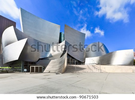 LOS ANGELES - FEB 13: Walt Disney Concert Hall on February 13, 2010 features Frank Gehry iconic architecture located in Los Angeles, CA. The concert hall houses the Los Angeles Philharmonic Orchestra - stock photo
