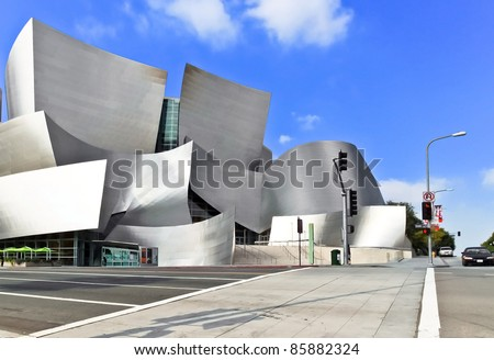 LOS ANGELES - FEB 13: Walt Disney Concert Hall on February 13, 2010 features Frank Gehry's iconic architecture located in Downtown Los Angeles, CA. The concert hall houses the Los Angeles Philharmonic Orchestra - stock photo
