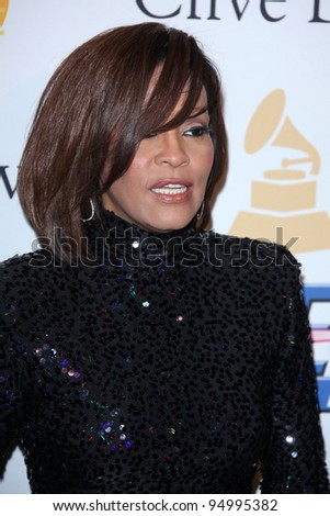 LOS ANGELES - FEB 12:  Whitney Houston at the 2011 Pre-GRAMMY Gala And Salute To Industry Icons  at Beverly Hilton Hotel on February 12, 2011 in Beverly Hills, CA - stock photo
