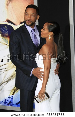 """LOS ANGELES - FEB 24:  Will Smith, Jada Pinkett Smith at the """"Focus"""" Premiere at  TCL Chinese Theater on February 24, 2015 in Los Angeles, CA - stock photo"""