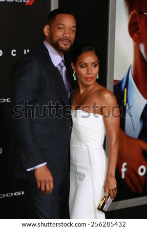 "LOS ANGELES - FEB 24:  Will Smith, Jada Pinkett Smith at the ""Focus"" Premiere at  TCL Chinese Theater on February 24, 2015 in Los Angeles, CA - stock photo"