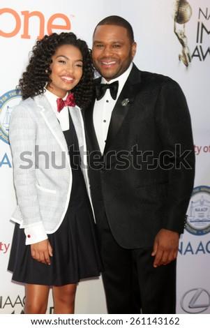 LOS ANGELES - FEB 6:  Yara Shahidi, Anthony Anderson at the 46th NAACP Image Awards Arrivals at a Pasadena Convention Center on February 6, 2015 in Pasadena, CA - stock photo