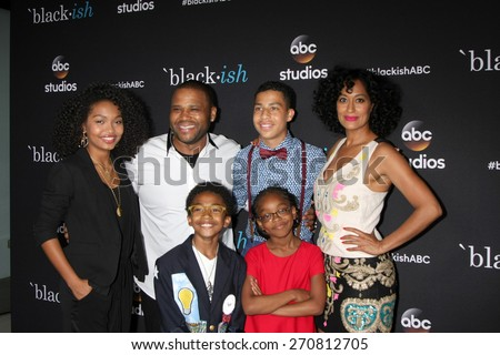 "LOS ANGELES - FEB 17: Yara Shahidi, Anthony Anderson, Marcus Scribner, Tracee Ellis Ross, Marsai Martin, Miles Brown at the ""Black-ish"" event at the PDC on April 17, 2015 in Los Angeles, CA"