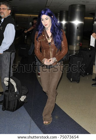 LOS ANGELES - FEBRUARY 7: Celebrity tattooist Kat Von D at LAX .February 7th 2010 in Los Angeles, California